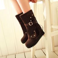 Rivet wedges tassel boots high-heeled boots elevator platform snow boots single boots slip-resistant boots