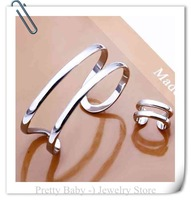 PBS277 - Wholesale 925 silver jewelry set, fashion jewelry set Grape Ring Earrings Bangle&Ring Jewelry Set