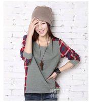 2014 new fashion women female models loose cotton stitching round neck long-sleeved T-shirt Plaid shirt gray