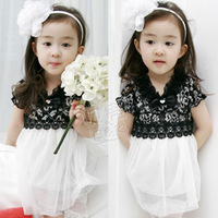 2014 summer fashion lace dresses girls princess clothing baby girl short-sleeve cotton flowers dress