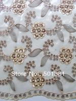 2014 African French Lace,  Voile with Cord and Stones, Wholesale, 2638 BEIGE COLOR