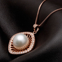 11_12mm Natural Pearl Pendant Necklace,Freshwater Cultured Pearl Fine Jewelry&925 Silver Plated 14k Rose Gold Free Shipping