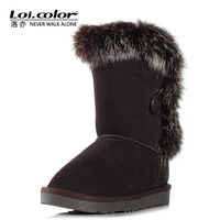 Loicolor snow women's suede leather and fox fur elements 2014 Winter Boots