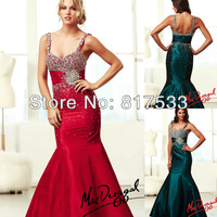 Emerald Green Red With Strap Ruched Waist Floor Length Stunning Evening Gown Beaded Mermaid Prom Gown