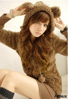 Womens Cute Kawaii Sweet Downy Teddy Bear Ear Fleece Hoodie Jacket Top Black /Coffee /Beige Free Shipping