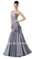 FairOnly Fashion Taffeta Sweetheart Appliques Silver mermaid evening dress prom gown 2014