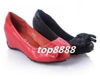Freeshipping Best Selling Sheepsking Leather Wedge Single SHoes Women Fashion Short Wedge Shoes Bowknot Deisign Footwear ML1254
