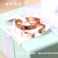 Fashion  texture love ring rose gold titanium finger ring   lovers ring