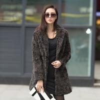 Free shipping 2014 suit collar rex rabbit hair fur female outerwear overcoat long design fur coat  jacket