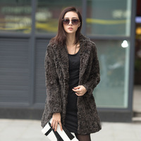 free shipping 2013 suit collar rex rabbit hair fur female outerwear overcoat long design fur coat  jacket