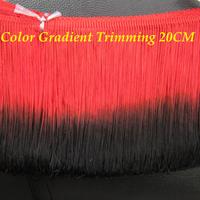 Rayon trimming Tassel Gradient fringe lace loop bottom color Red black 25cm