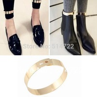 2pair Fashion Golden Flat Mirror Metal Anklet Ankle Foot Cuff Bracelet Bangle Ring Hot Selling