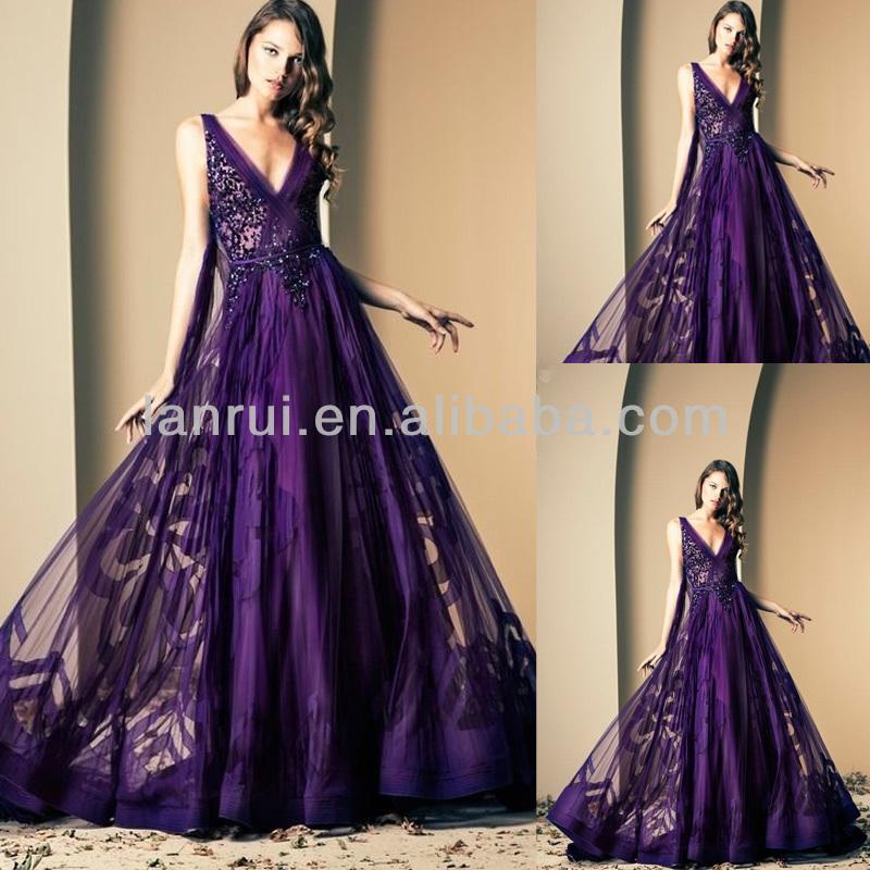 Deep Purple Wedding Dresses : Deep v neck organza sexy stunning amazing purple wedding dress