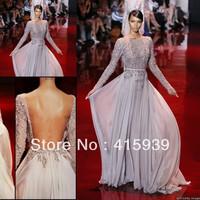 Elie Saab New Arrival Beaded Long Sleeve Chiffon Events Dress Evening Dress Free Shipping 2013 Fall WL270
