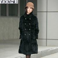 Free shipping rex rabbit hair fur long design stand collar outerwear black brown fur coat  overcoat Natural parkas