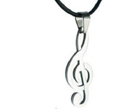 Fashion Jewelry Vintage Silver Praise Music Notation Stainless Steel Necklace Pendant Real Leather Free Shipping  5PCS P70(China (Mainland))