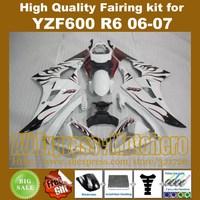 Dark red flame white fairings For YAMAHA YZF600 YZF R6 2006 2007 YZF600 R6 06 07 YZFR6 06 07 YZFR6 2006 2007 fairing kit +7GIFTS