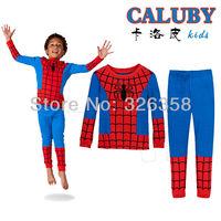 Free shipping 6sets/lot spiderman boys baby pajamas,children's Pajamas clothing sets, 100% cotton child Pyjamas, Sleepwear