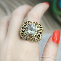 Handmade 925 silver green crystal inlaying gold cutout ring finger ring 17