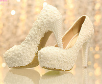 Sweet white flower lace high-heeled shoes pearl wedding shoes bride dress shoes 12cm women pumps single shoes