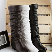 New 2013 Autumn Winter Women Designer Snow Boots Knee High Motorcycle Boots Flat Shoes Platform PU Lether XZ0037 Hot Selling