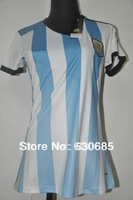 New arrival 2014 argentina home Ladie womens girls white best quality soccer football jersey, woman soccer football jerseys