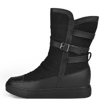 2012 crystal fish large cotton woolen genuine leather boots female knee-high comfortable elevator martin boots