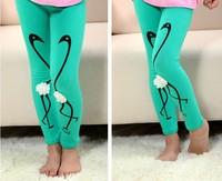 Children leggings girls swan print leggings