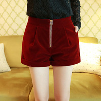 4 Color 2014 New Fashion Womens Retro Shorts Velvet edge zipper Short pants For Women Ladies Red Black Blue Green Free Shipping