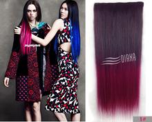 """3.5 oz/Piece 22 """" 5 Clips Ombre clipe sintético no Halloween extensões de cabelo hetero colorido Kanekalon grampo em extensões do cabelo(China (Mainland))"""