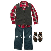 Free Shipping Children Clothing Kids Boy's causal vest with denim pants and  turn down collar checked T shirt 3 piece suit