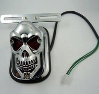 2013 Motorcycle Integrated Skeleton Skull Ghost Head Rear End Light Tail Light Lamp Side Mount Plate