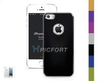 For iPhone 5 5S Aluminum Steel Hard Cover Case with Film Protector+Cloth- SET0015C