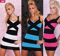 Hot Sale Summer Dress 2014 Sexy Club Wear Dress Plus Size Women Autumn Winter Stripe Bandage Mini Dresses Tight Sexy Dress Women