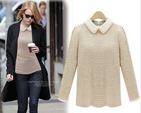 new winter girl's long sleeve hit color lapel sweater fashion design nice quality girl's pullovers Z808