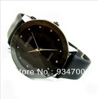 Classical Original SINOBI Diamond Crystal Silver Case Elegant All Black Leather Strap Men Quartz Wrist Gift Dress Watch / SNB021