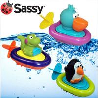 Free shipping creative Sassy wound-up  animal back guy bath toys aquatic animal Plastic boat baby Plastic toy 3pc
