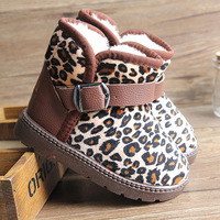 children winter snow boots girls leopard print cotton-padded shoes children boots children shoes