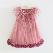 Meninas Vestir Vestidos Infantis Vestido Infantil Girls Dress Sleeveless 1 Piece Only Party Roses Princess Rose 2014 Summer Wear (China (Mainland))