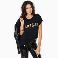 Free Shiping NEW Arrvial Ballin bronzier letter print black o-neck short-sleeve roll sleeve t-shirt female plus size