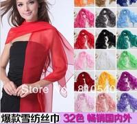 Free shipping Hot batch fashion pure color multifunction silk chiffon thin scarves shawls blasting silk scarves