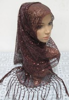 Free Shipping! Hot Sales The New Style Encrypted Small Sequins Hanging Required big scarf,  Muslim Headscarf for Women