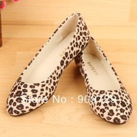 Shoes women's single pointed toes shoes flat heel women's shoes female leopard print shoes free shipping