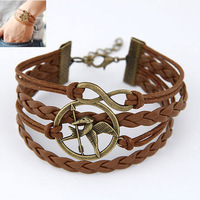 Free shipping Min.$10 (mix order)Creative happy combination the eagle  eight notes alloy parts manual multilayer woven bracelets