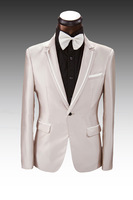 Free Shipping 2014 Mens Suit Champagne Tuxedo Wedding Suit Custom Made Suit Cream Jacket Pants Bespoke Mens Prom Suits