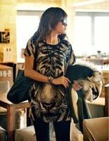 Hot sale leopard animal print T-shirt styles for women temperament animal cartoon tiger head loose T-shirt women