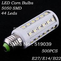 Mixed wholesale 500pcs E27 E14 B22 SMD5050 LED Corn Light bulb 44led 10W AC 110V/220V White/Warm White FEDEX Free delivery