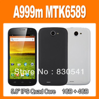 A999m MTK6589 Quad Core Android 4.2 Smart Phone 1GB 4GB 5.0 Inch IPS Screen OTG Dual Cameras 3G GPS Bluetooth (0301213)