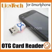 2pcs/lot Dual USB Plug OTG Card Reader Smart micro USB Gift Card Reader for Android Smartphone Tablet for Samsung, retail box