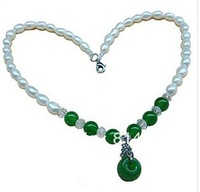 1 pcs MOQ rice shape freshwater pearls necklace with malaysian jade free shipping
